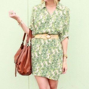 CAbi Green Leafy Dress NWT